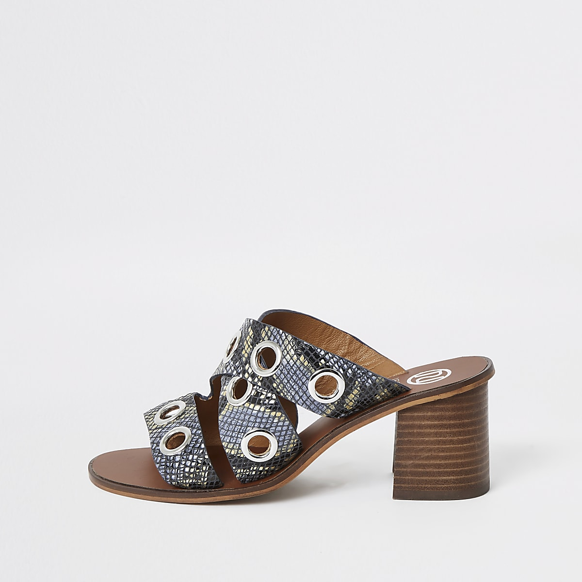 Blue leather print eyelet block heel mules