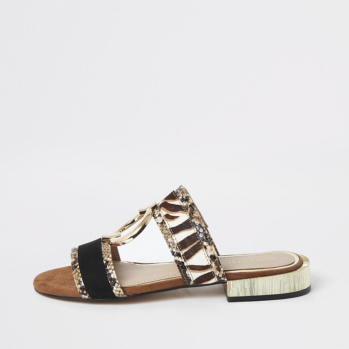 Brown snake print flat sandals