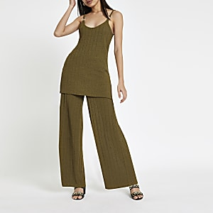 Khaki ribbed wide leg trousers