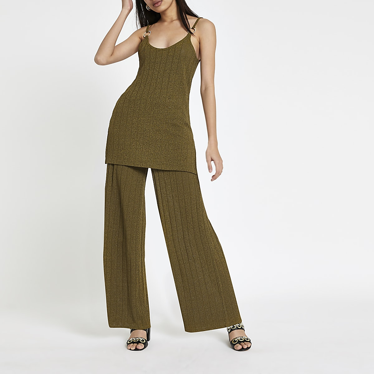 Khaki ribbed wide leg pants