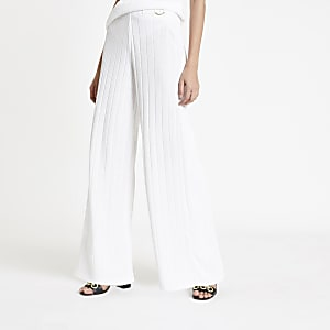 White ribbed wide leg pants