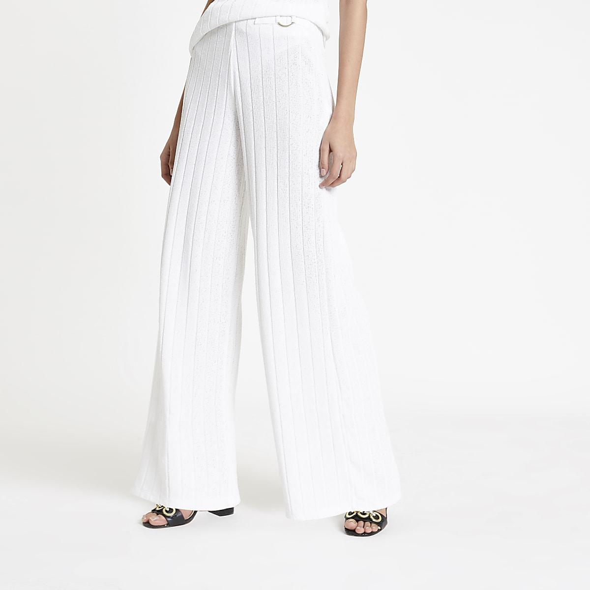 White ribbed wide leg pants