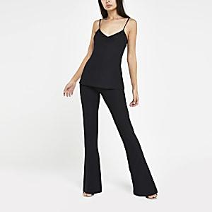 Zwarte jersey uitlopende broek met hoge taille