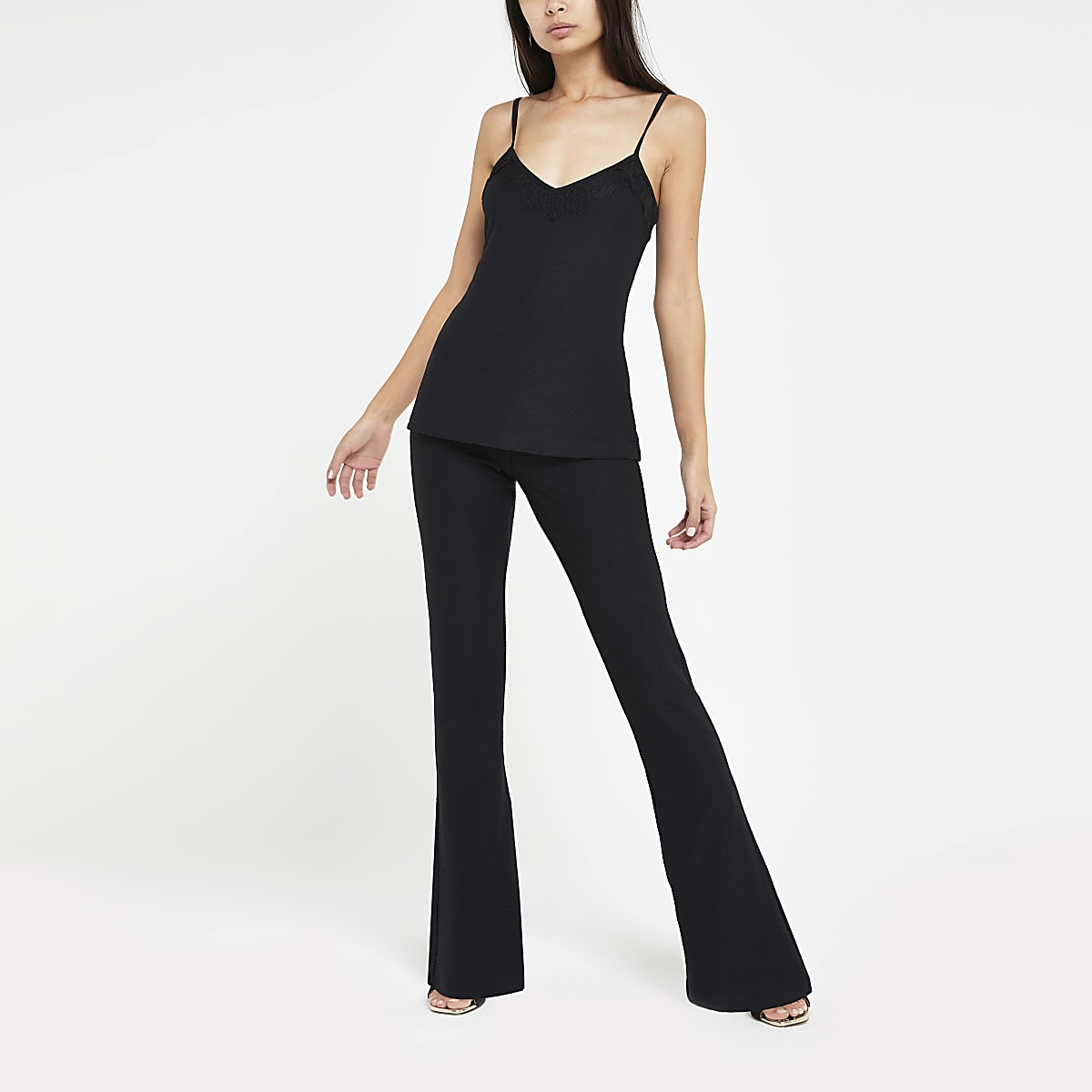 Black high waist jersey flare trousers