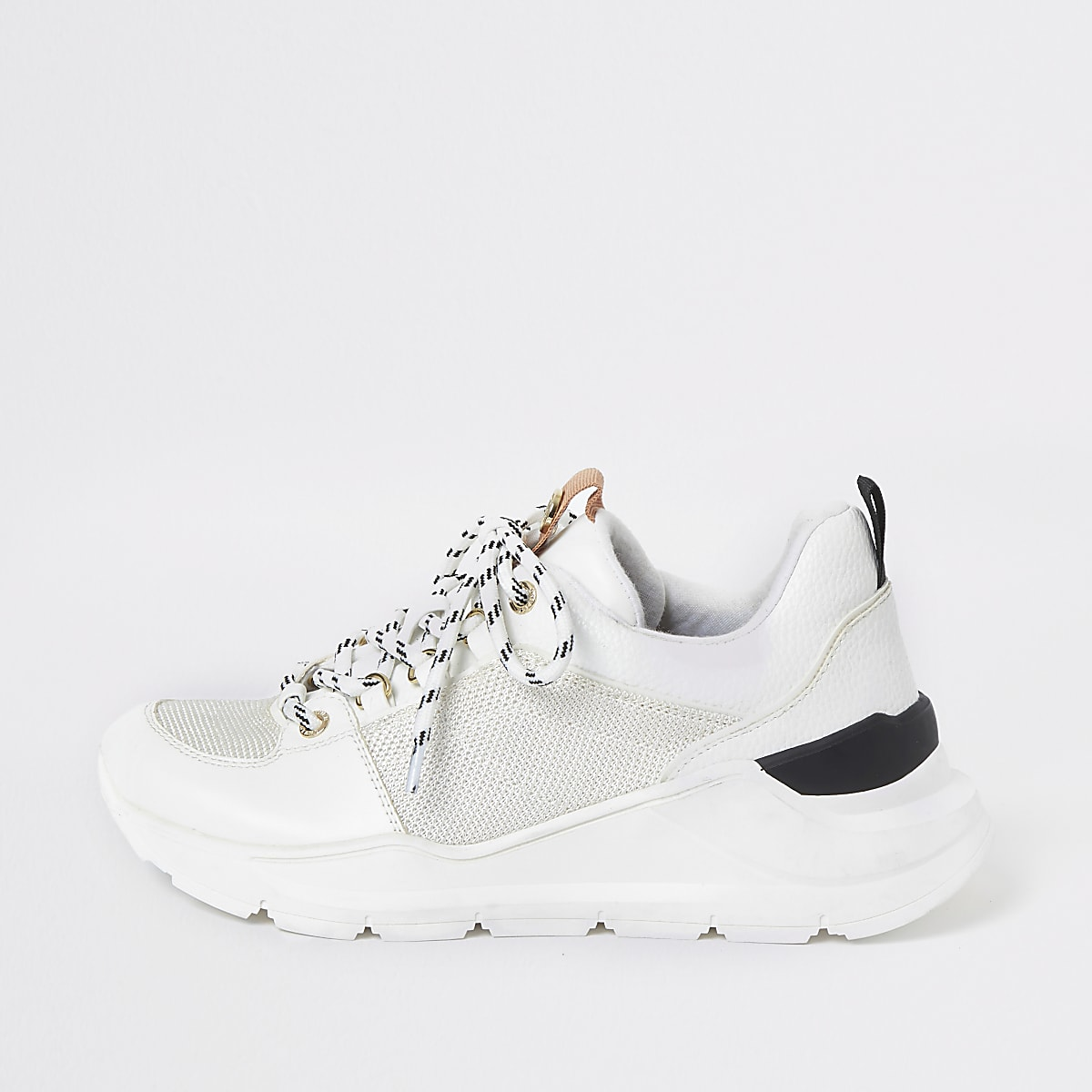 White lace up runner trainers