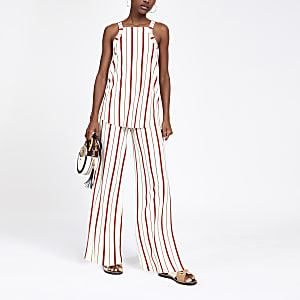 Rust stripe wide leg trousers