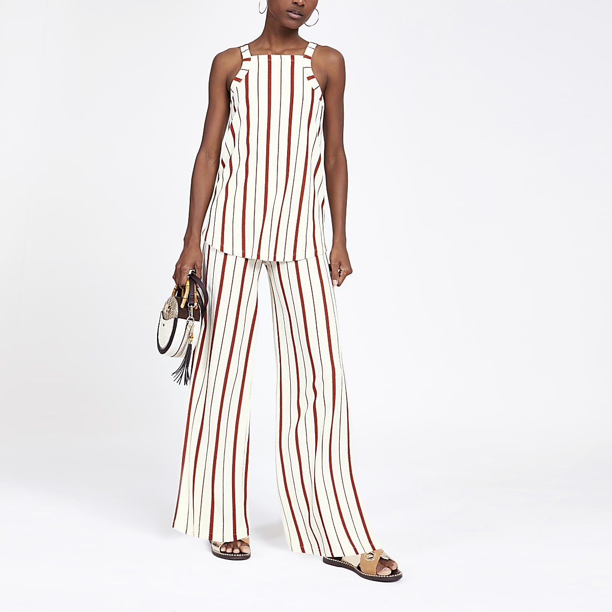 Rust stripe wide leg pants