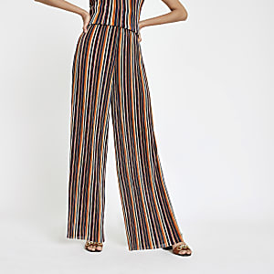 Orange stripe wide leg trousers
