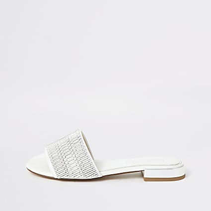 White embellished sandals