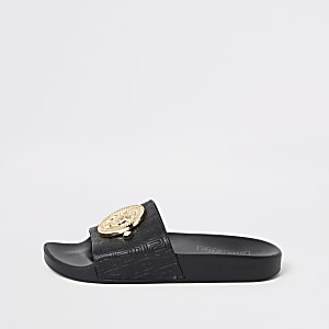 Black RI monogram sliders