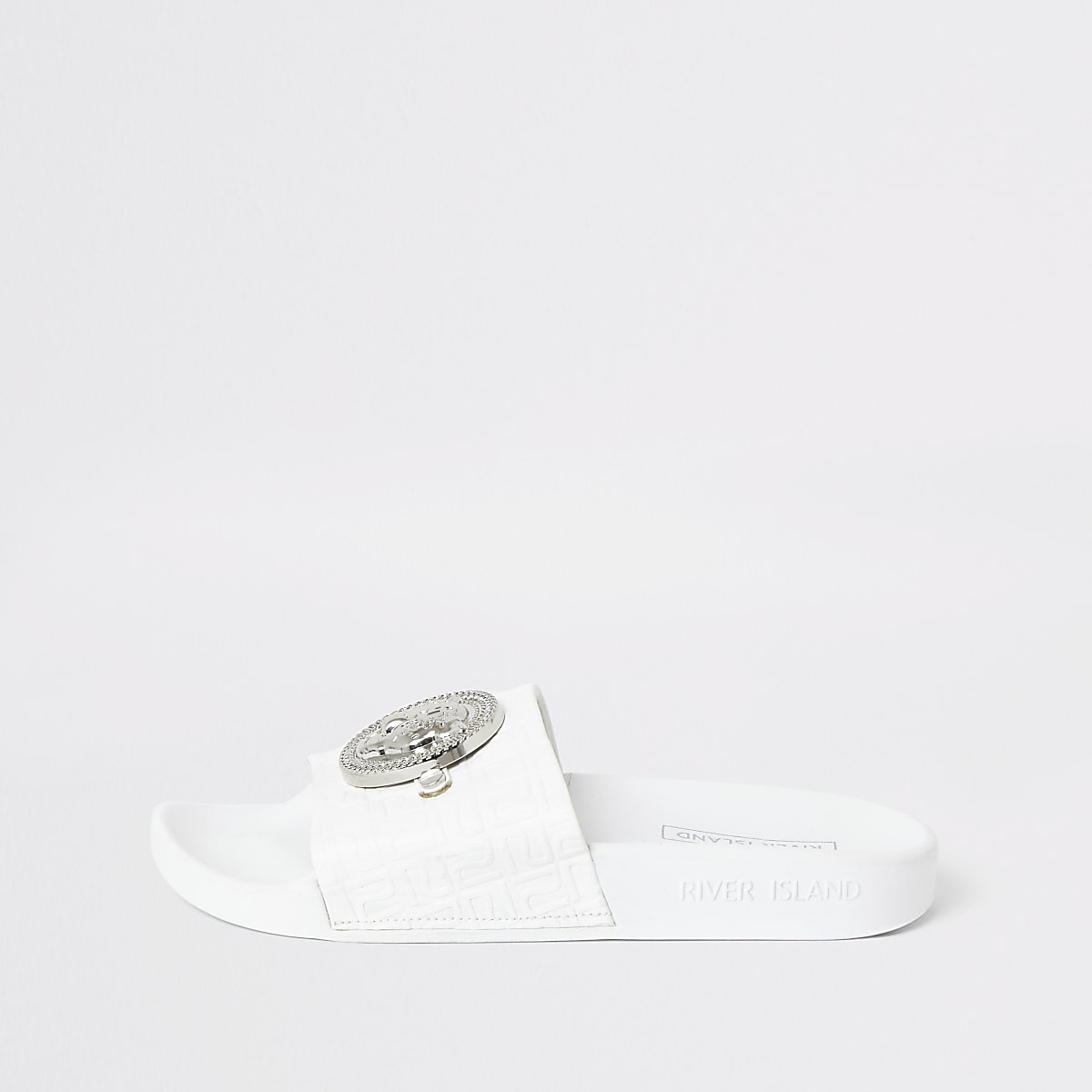 White RI monogram sliders