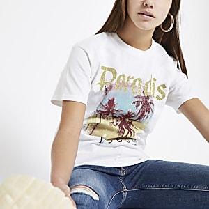Petite – Weißes, paillettenverziertes T-Shirt