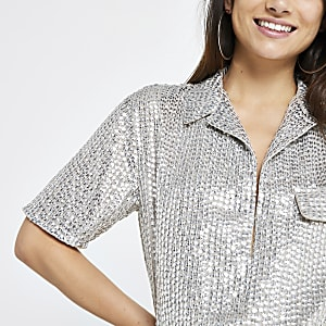 Petite silver sequin embellished shirt