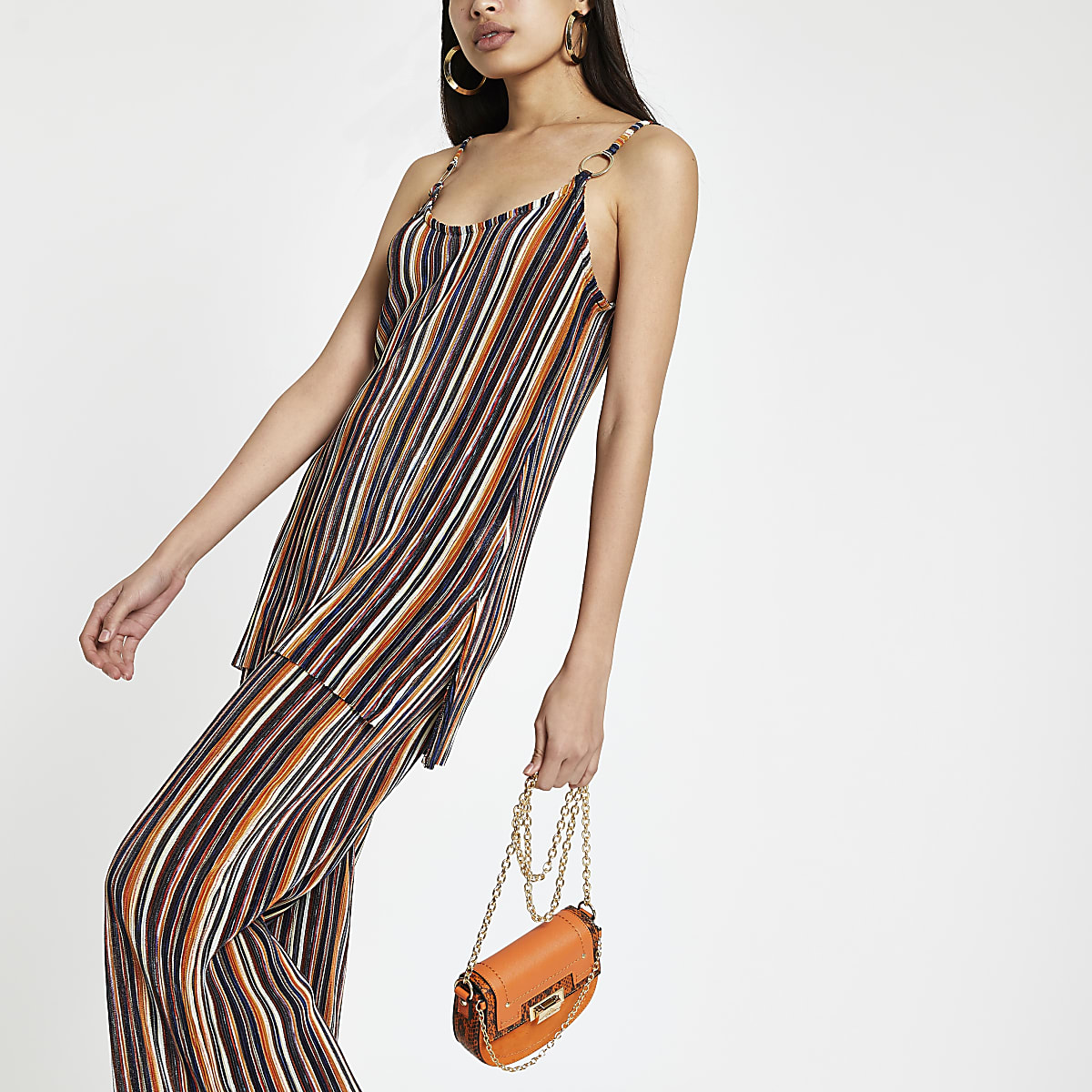 cb43392d709 Orange stripe tunic top - Cami / Sleeveless Tops - Tops - women