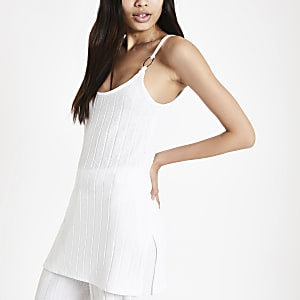 White ribbed tunic top