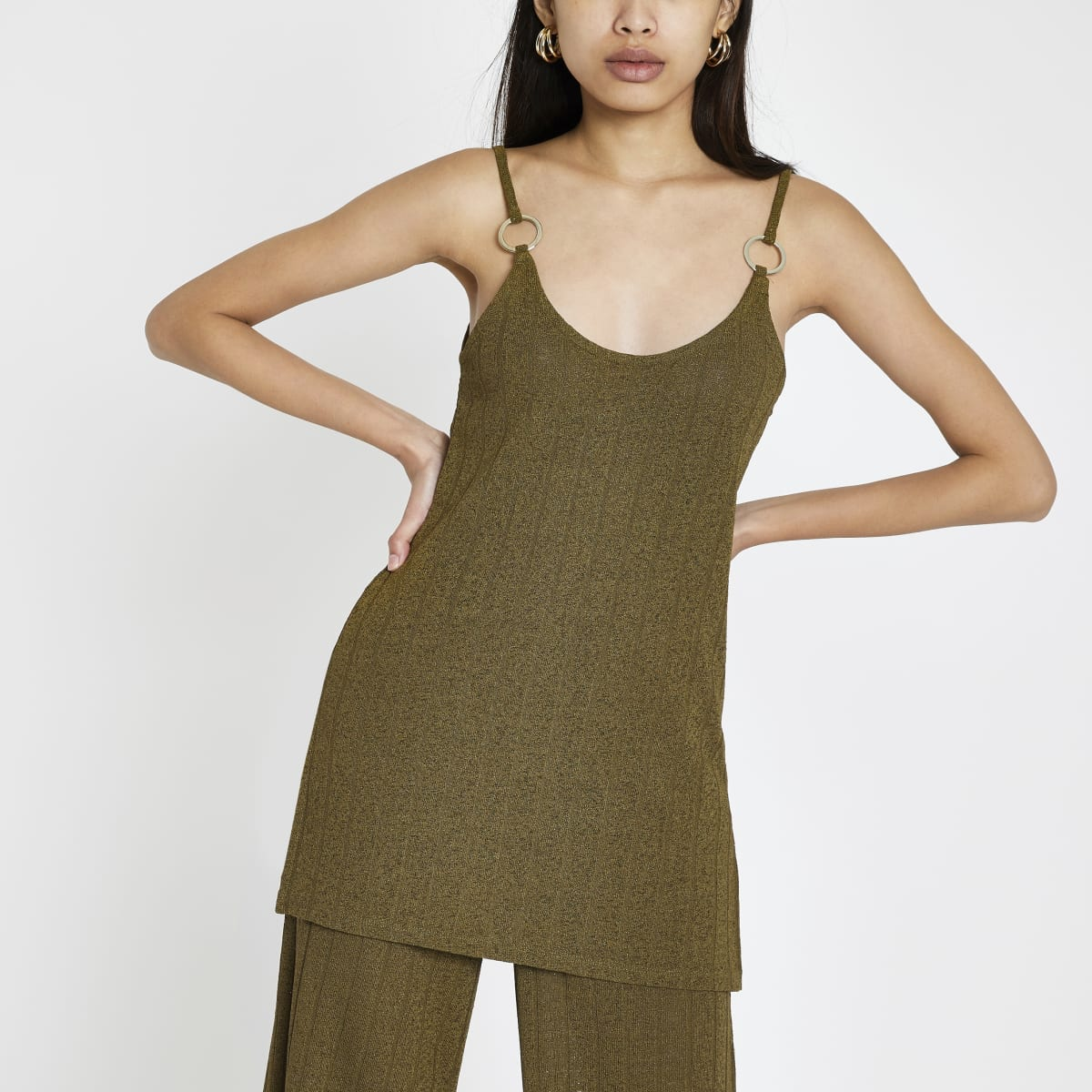 Khaki ribbed cami top