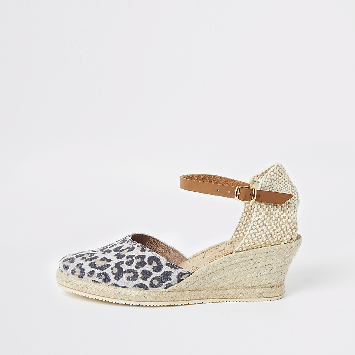 Ravel brown leopard print espadrille wedges