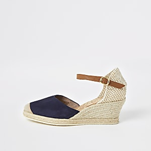 Ravel navy espadrille wedge sandals
