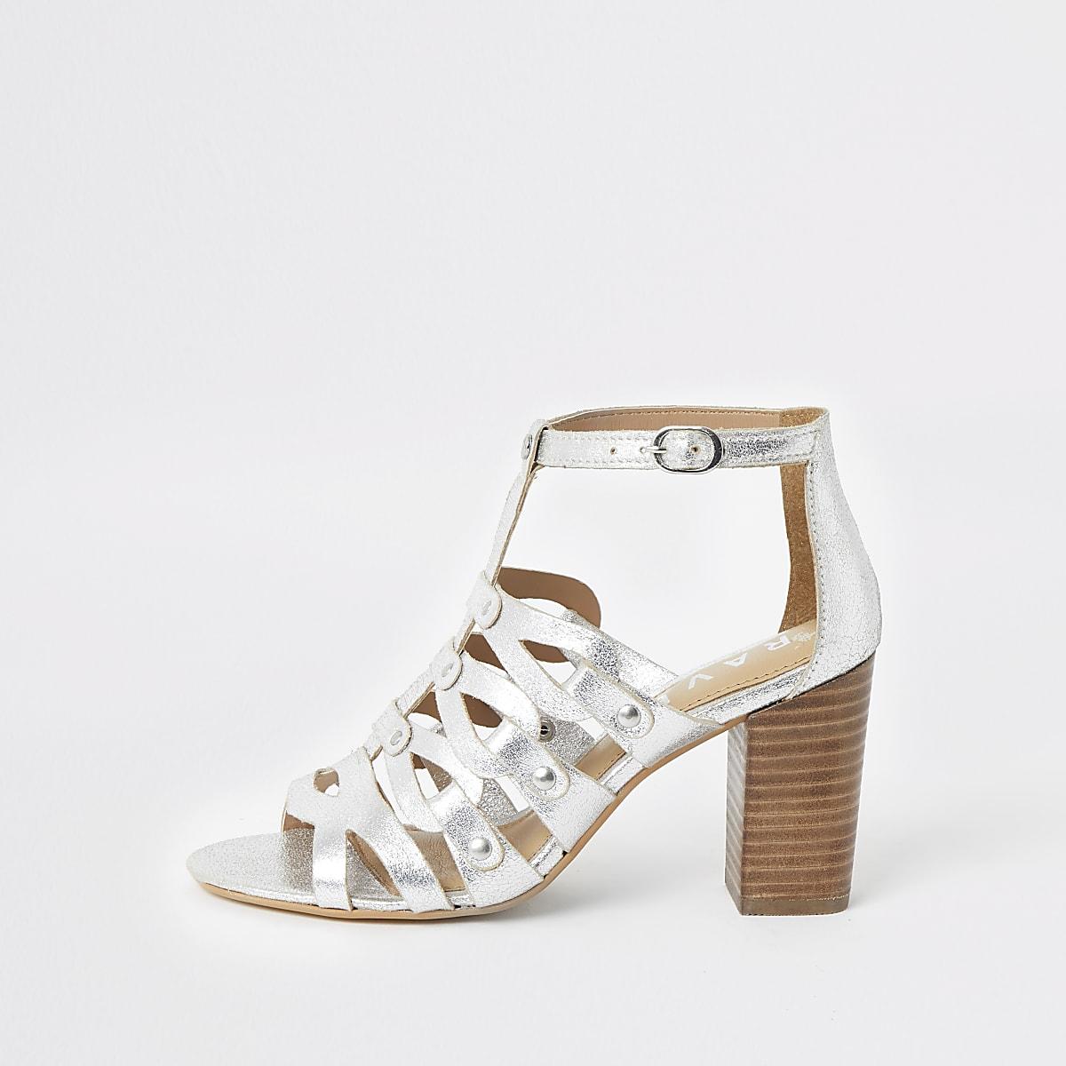 Ravel silver caged block heel sandals