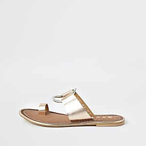 07b1f1700340 Ravel gold metallic toe ring sandals