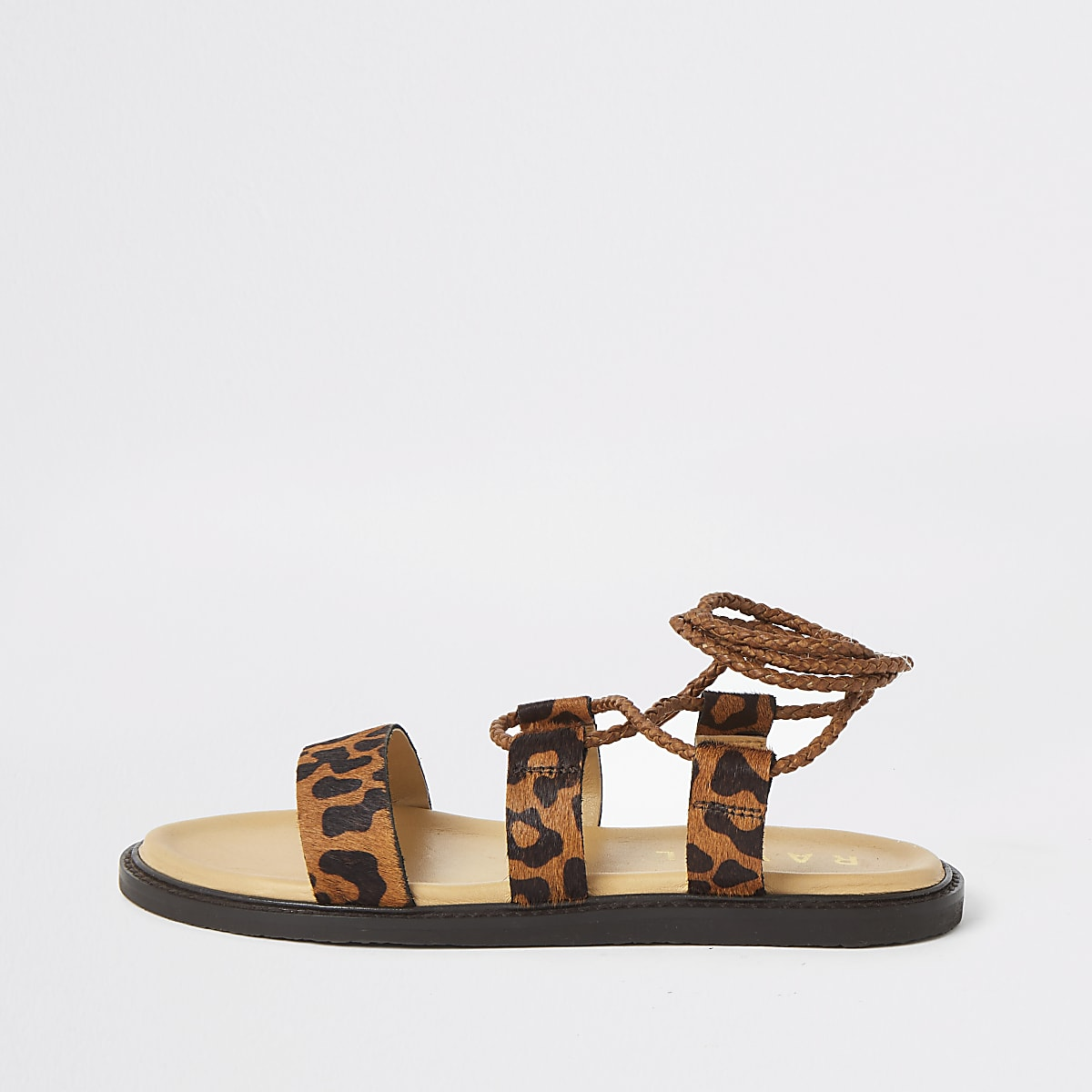 Ravel brown leopard print tie sandals
