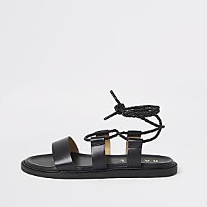 Ravel – Sandales noires avec liens à nouer