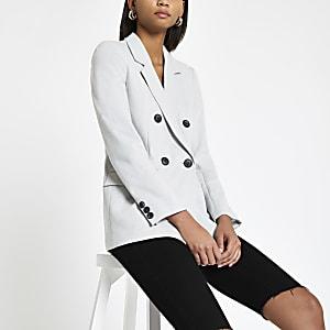 Blazer croisé en jersey gris