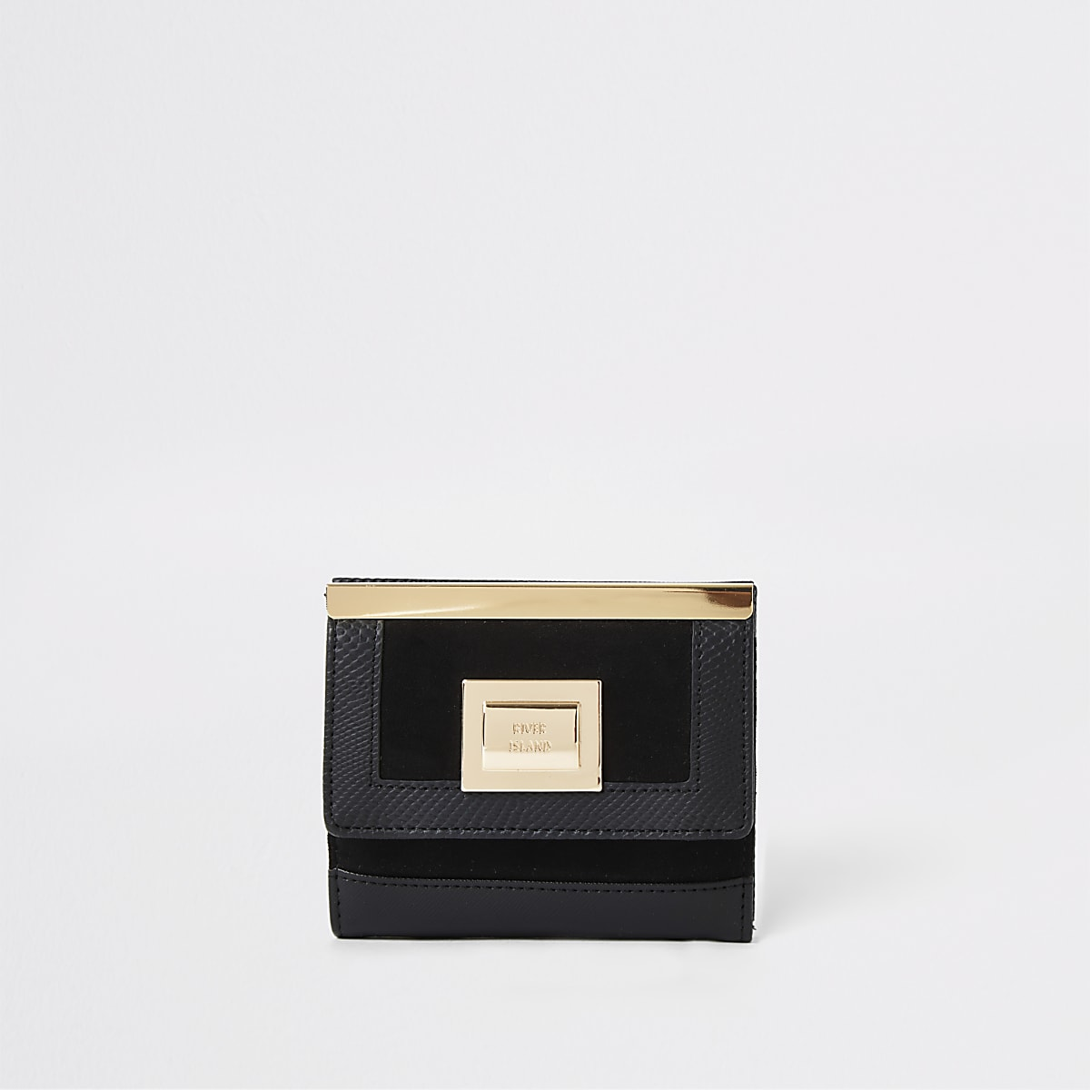 Black mini lock front purse