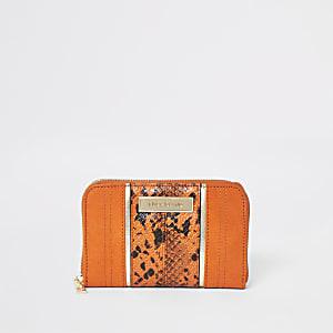 Mini portefeuille zippé imprimé serpent orange