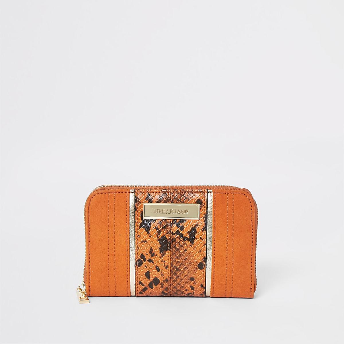 Orange snake print zip around mini purse