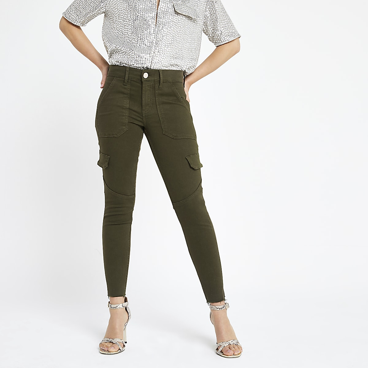 Petite khaki Amelie utility jeans