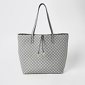 Light grey RI monogram tote bag