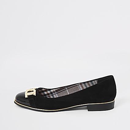 Black gold tone detail ballet shoes