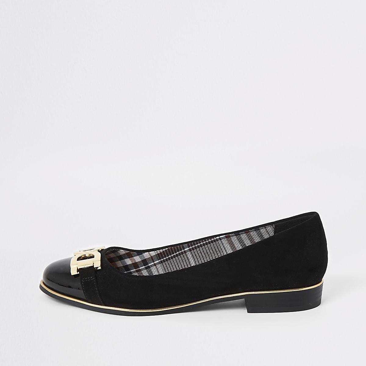 Zwarte balletschoenen met goudkleurig detail