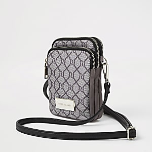 Light grey RI monogram cross body bag