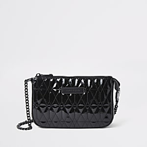 Black quilted underarm bag
