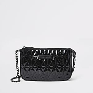 Zwarte doorgestikte onderarmtas