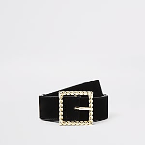 Black velvet twist buckle belt