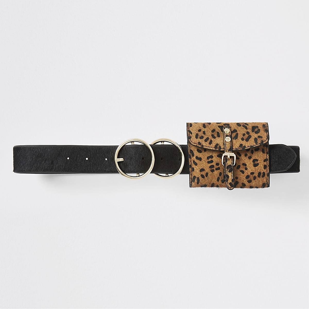 Ceinture à imprimé léopard noire avec porte-monnaie