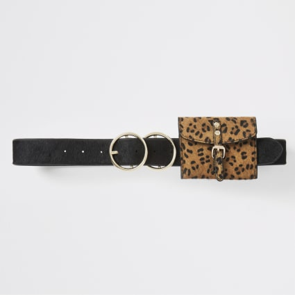 Black leopard print purse belt