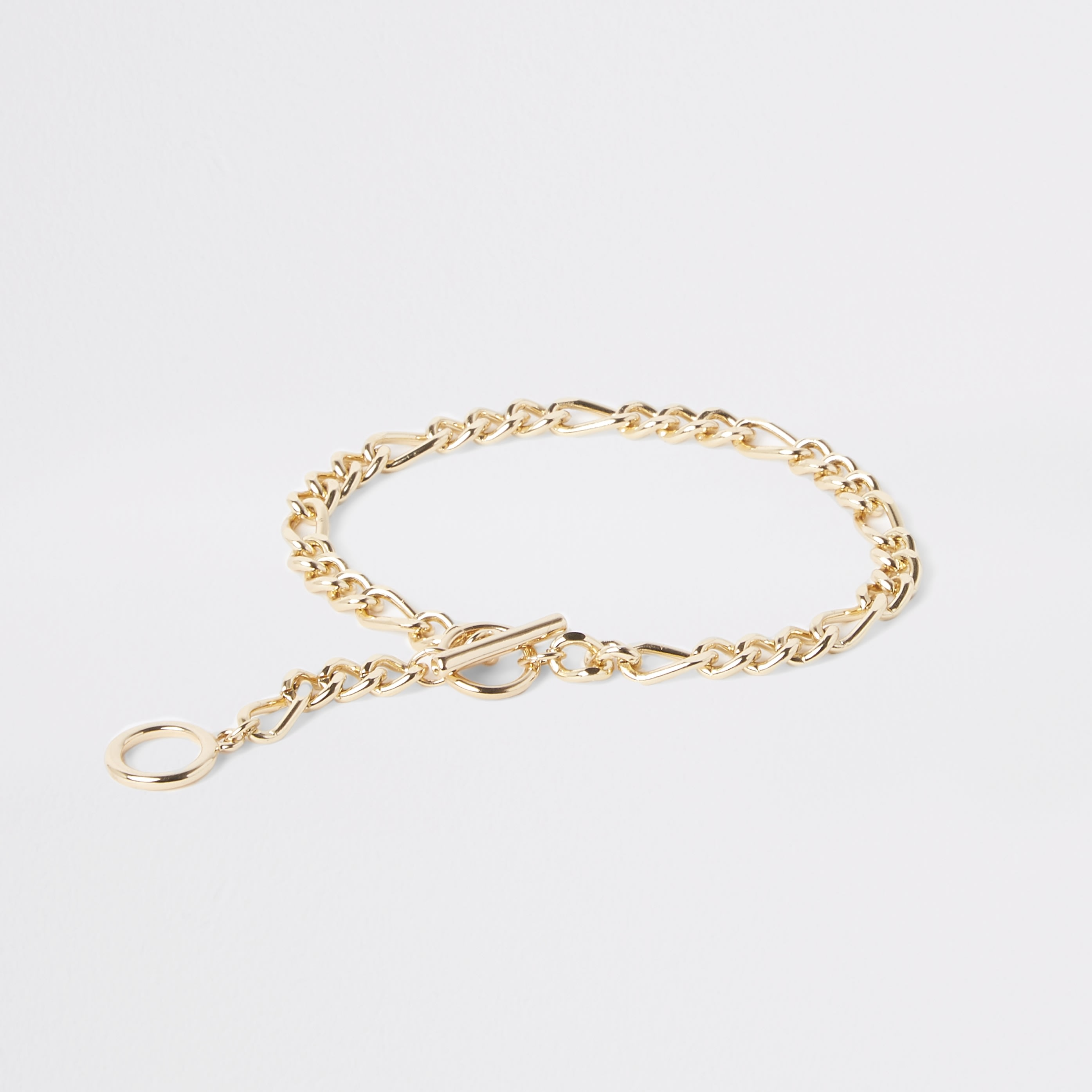 RIVER ISLAND | Womens Gold Colour T-Bar Chain Anklet | Goxip