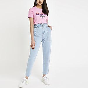 Roze T-shirt met 'Miami'-print en lovertjes