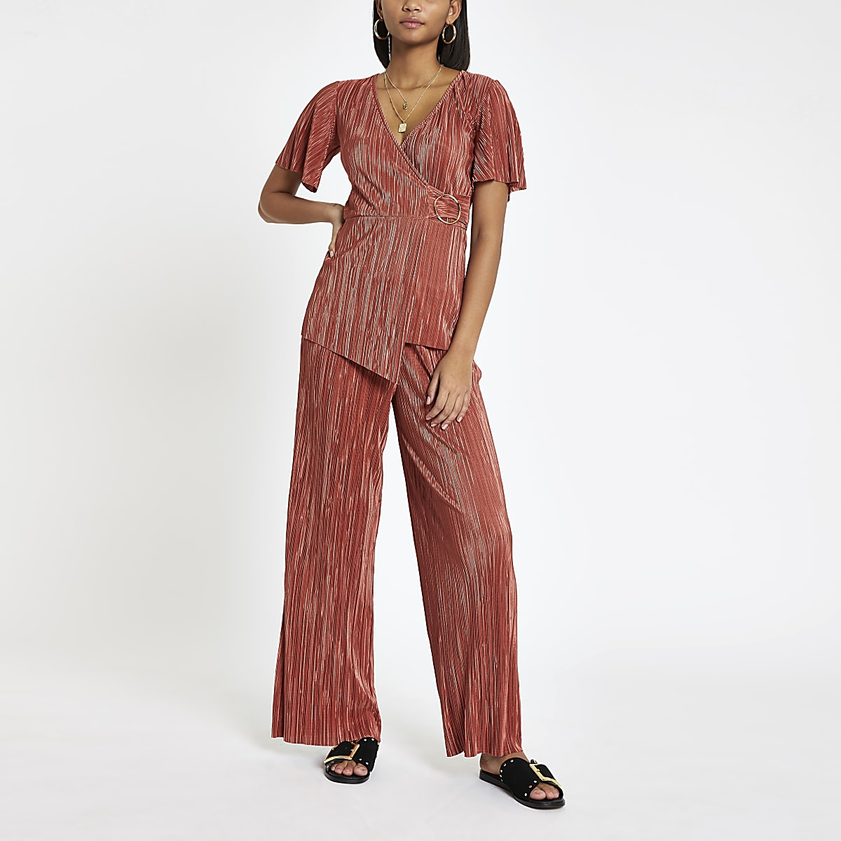Rust plisse wide leg trousers