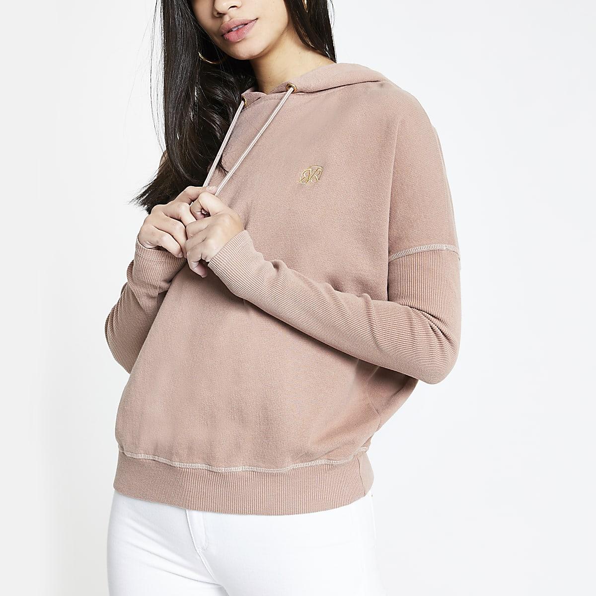Pink batwing sleeve hoodie