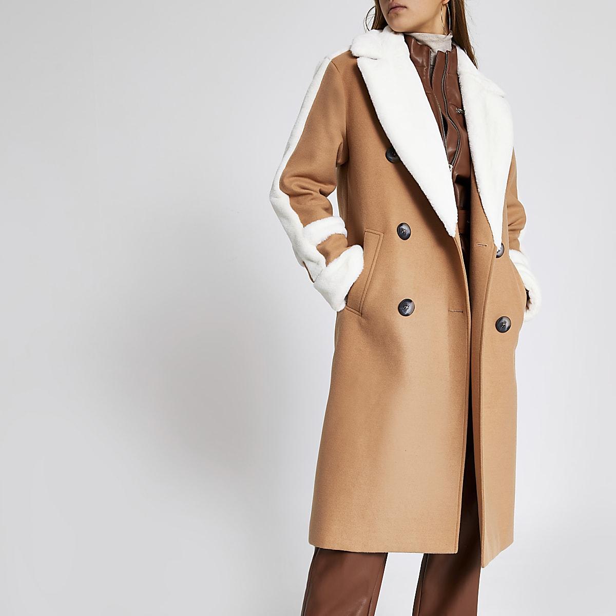 Beige faux fur trim double breasted coat