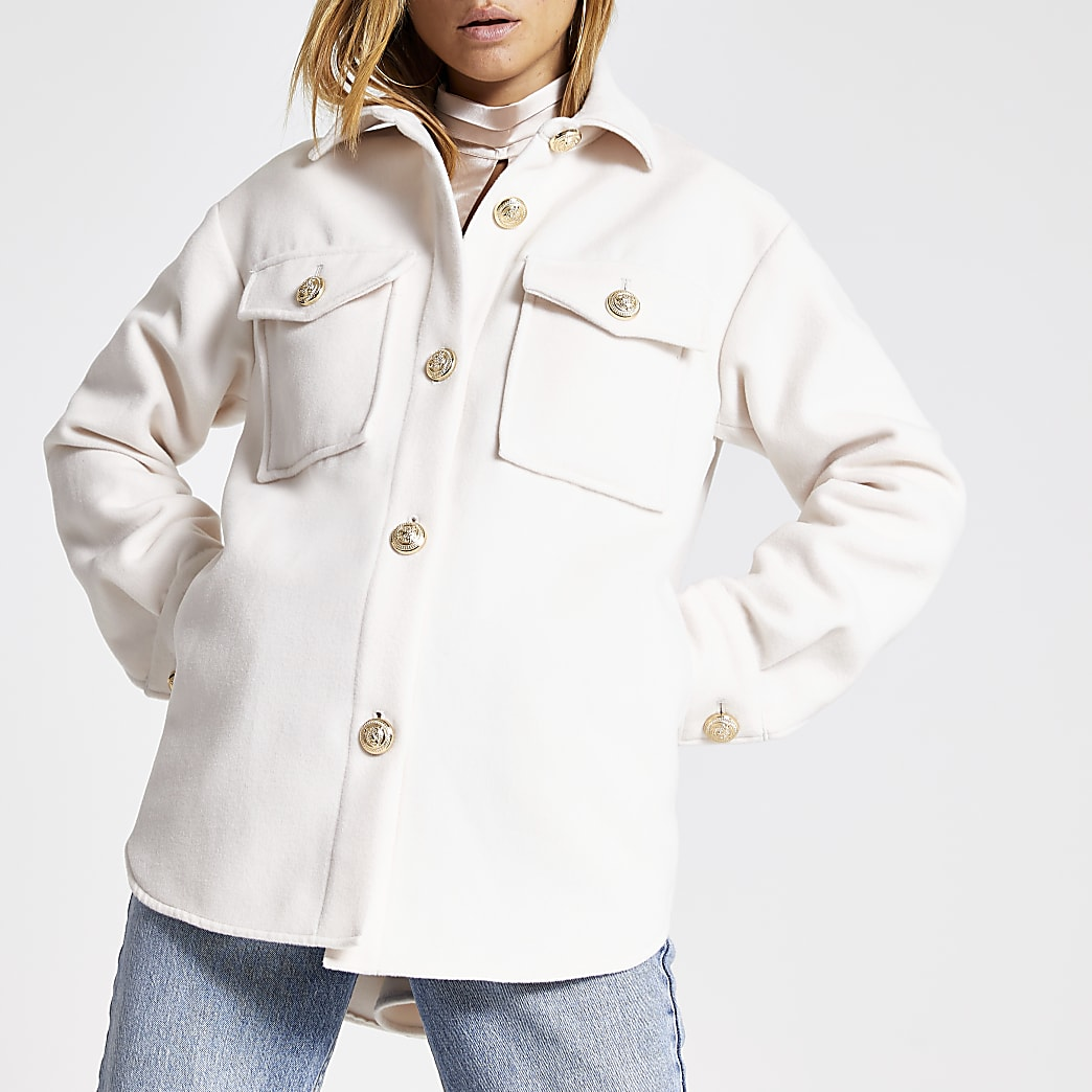Cream button front jacket