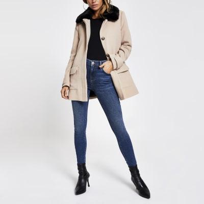 Beige faux fur collar swing coat