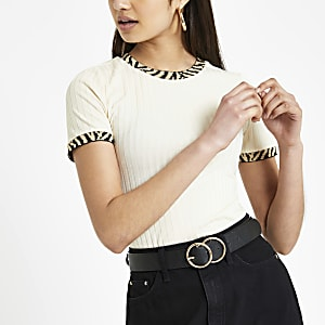 Cream zebra print trim fitted T-shirt