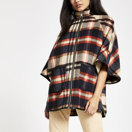 Cream check cape jacket
