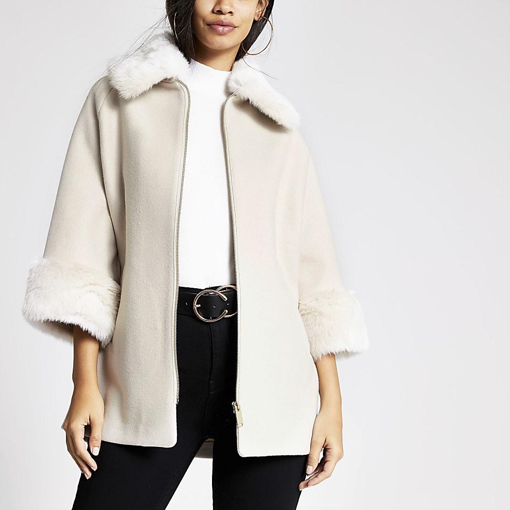 Stone faux fur trim zip front coat